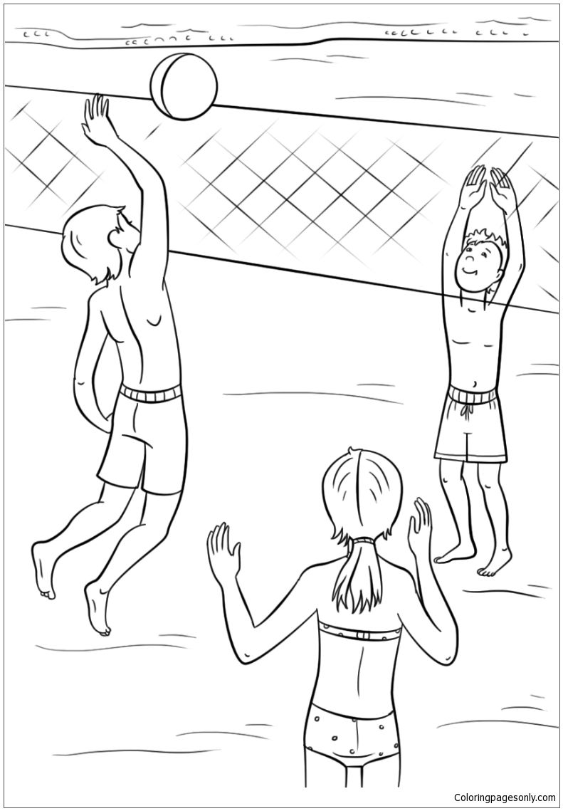 Play Volleyball On The Beach In The Summer Coloring Page | Summer ...