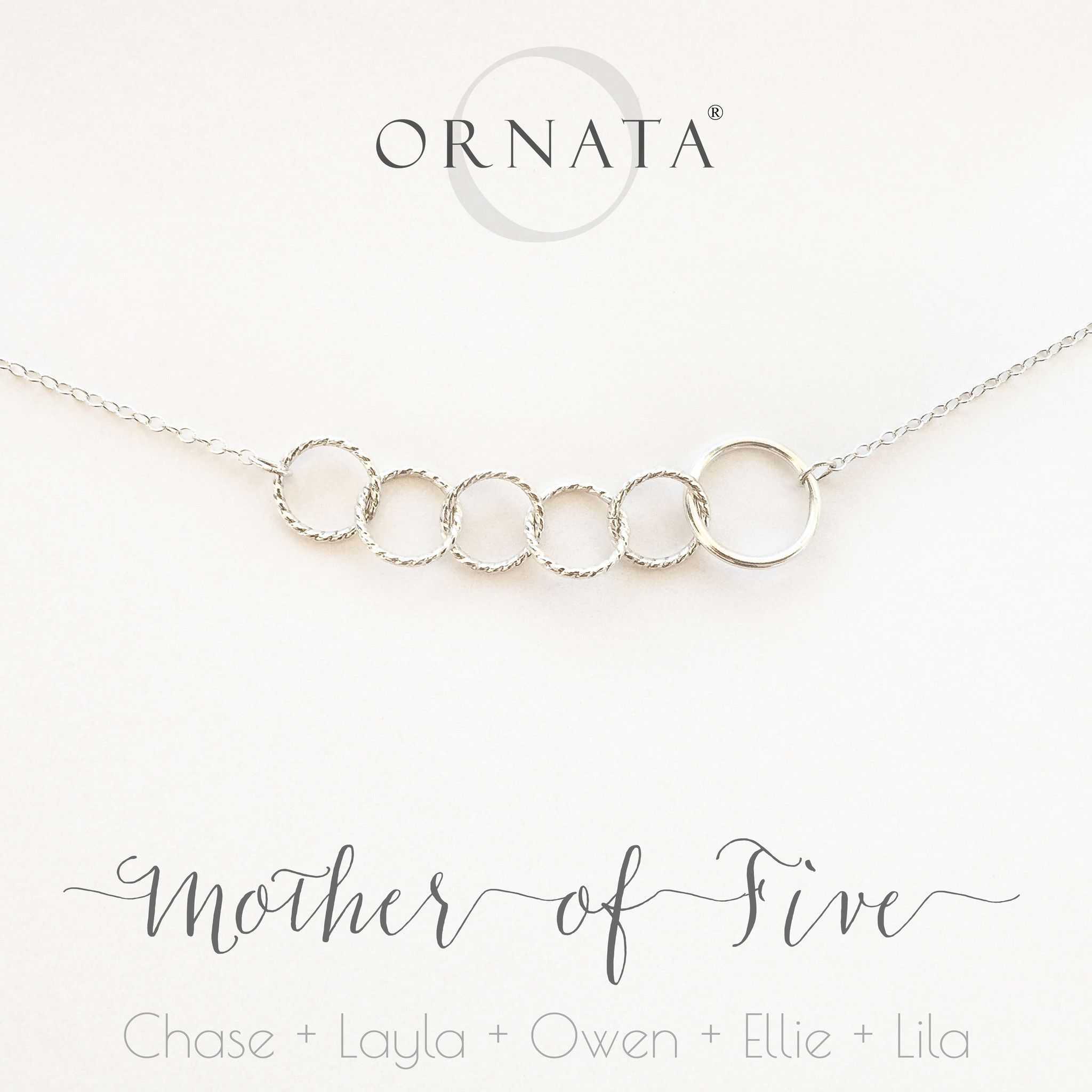Mother Of Five Sterling Silver Necklace