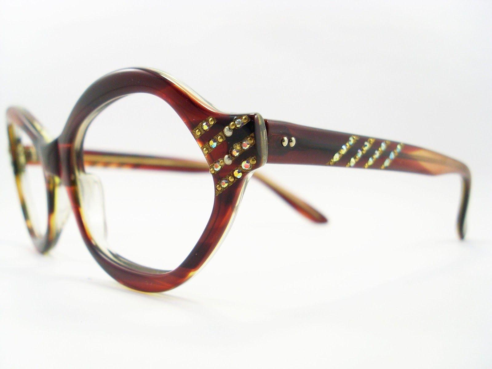 vintage Rx eyeglass frames with rhinestones or crystal | VINTAGE CAT ...