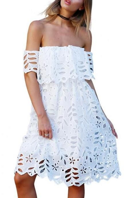 FREE SHIPPING Women Summer Sexy Off Shoulder Lace Prom Midi Dress Party Wear Dress