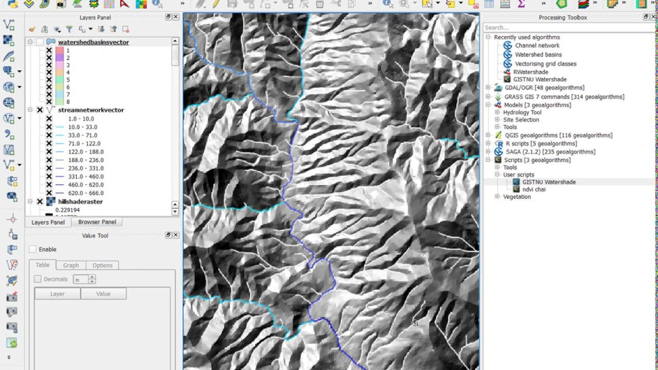 Watershed and Stream Network Delineation using Graphical