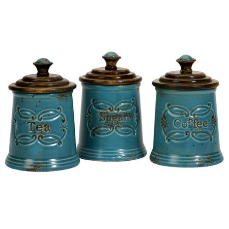 3 Piece Provencal Canister Set Teal Kitchen Canisters Kitchen