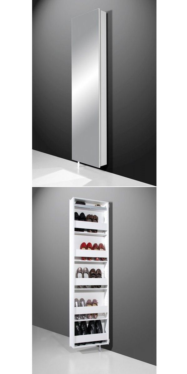 miroir de plein pied d 39 un c t armoire chaussures de l 39 autre un 2 en 1 par simple. Black Bedroom Furniture Sets. Home Design Ideas