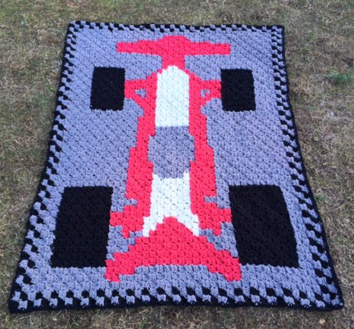 C2c Race Car Blanket Free Crochet Pattern Crochetknit