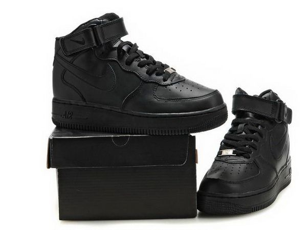 Women Nike Air Force One High Top Shoes 09 All Black  d1c912d0a7