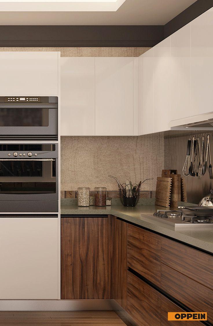 Modern Dark Wood Grain U Shape Kitchen Cabinet Cocinas