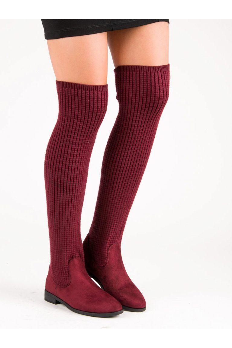 ea81f18b9f Módne čižmy vysoké topánky s nízkym opätkom bordové CnB