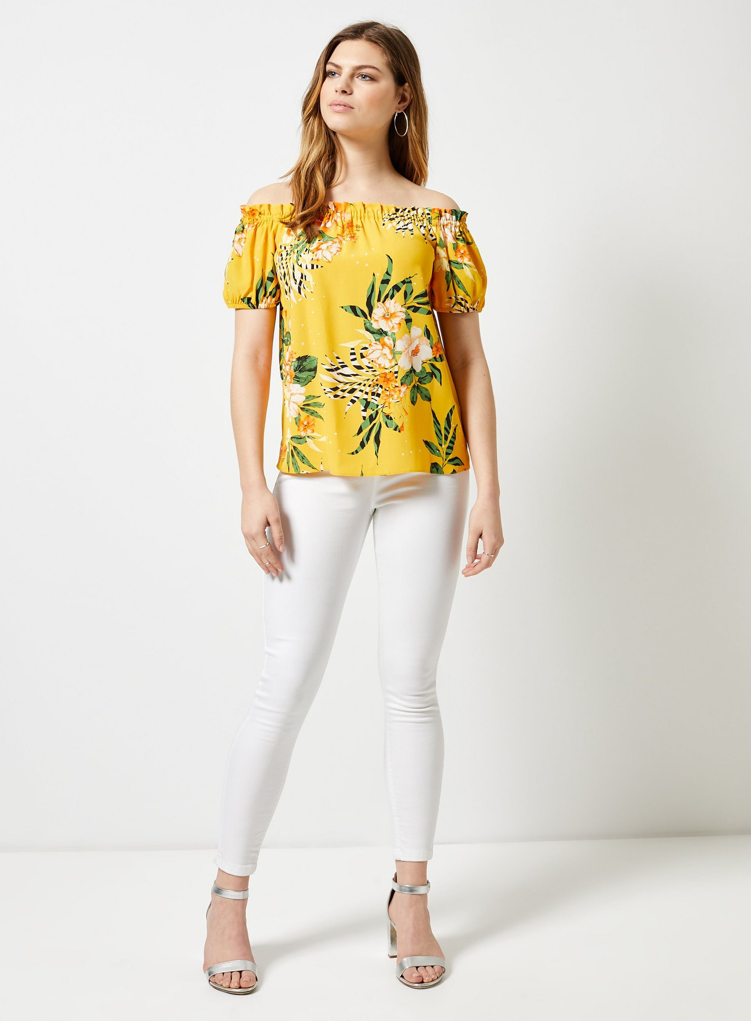7662aa32c603d4 Yellow Floral Print Bardot Top in 2019   JRC IN-STORE 2019   Bardot ...