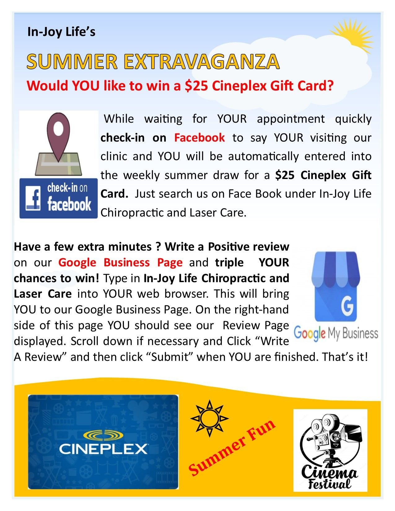 Don T Forget To Enter Our Summer Extravaganza Contest Write A Positive Review On Our Google Business Page Sea Business Pages Google Business Improve Yourself