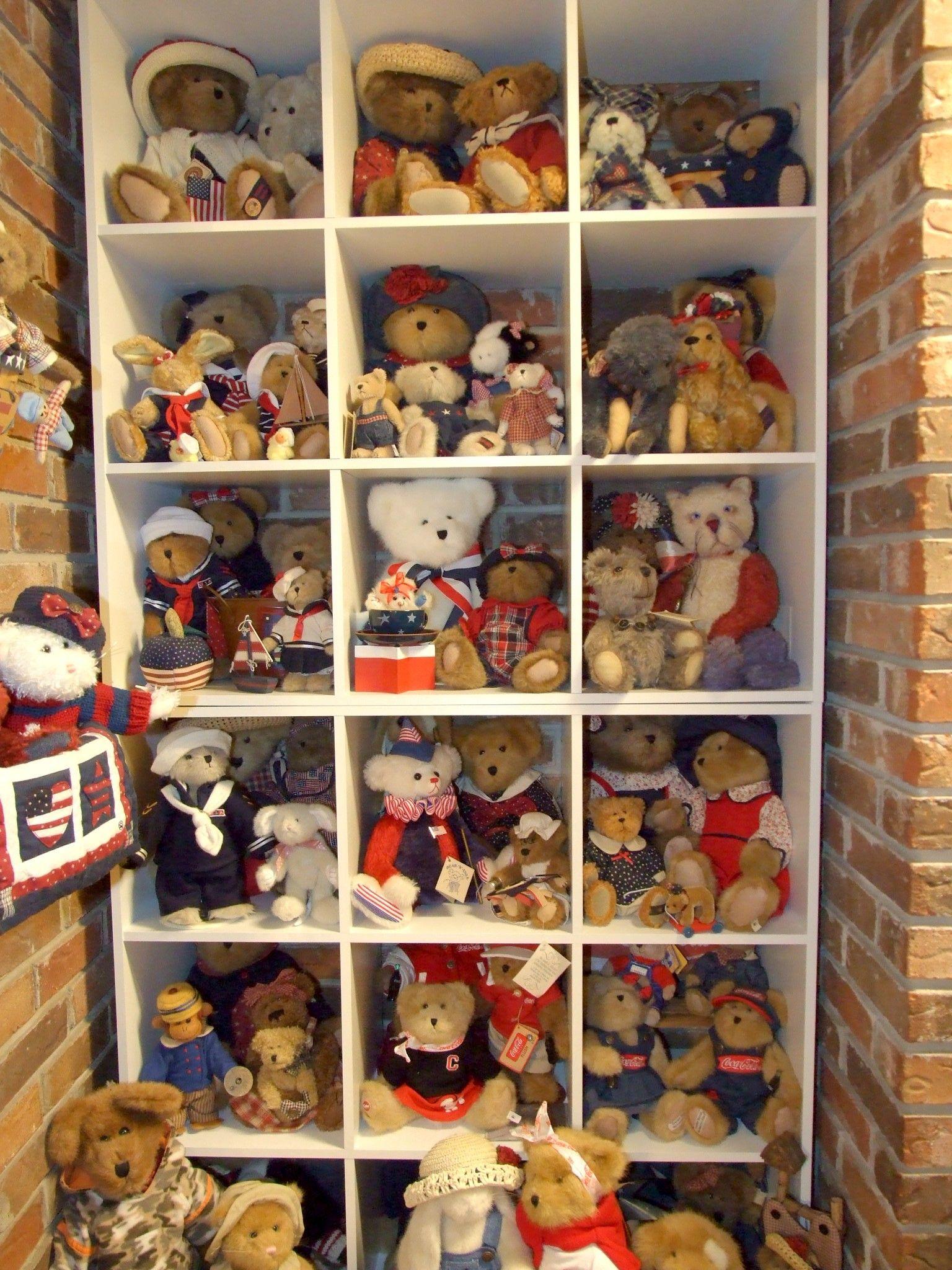 Family Room wall of bears | Stuffed animal displays, Teddy ... on