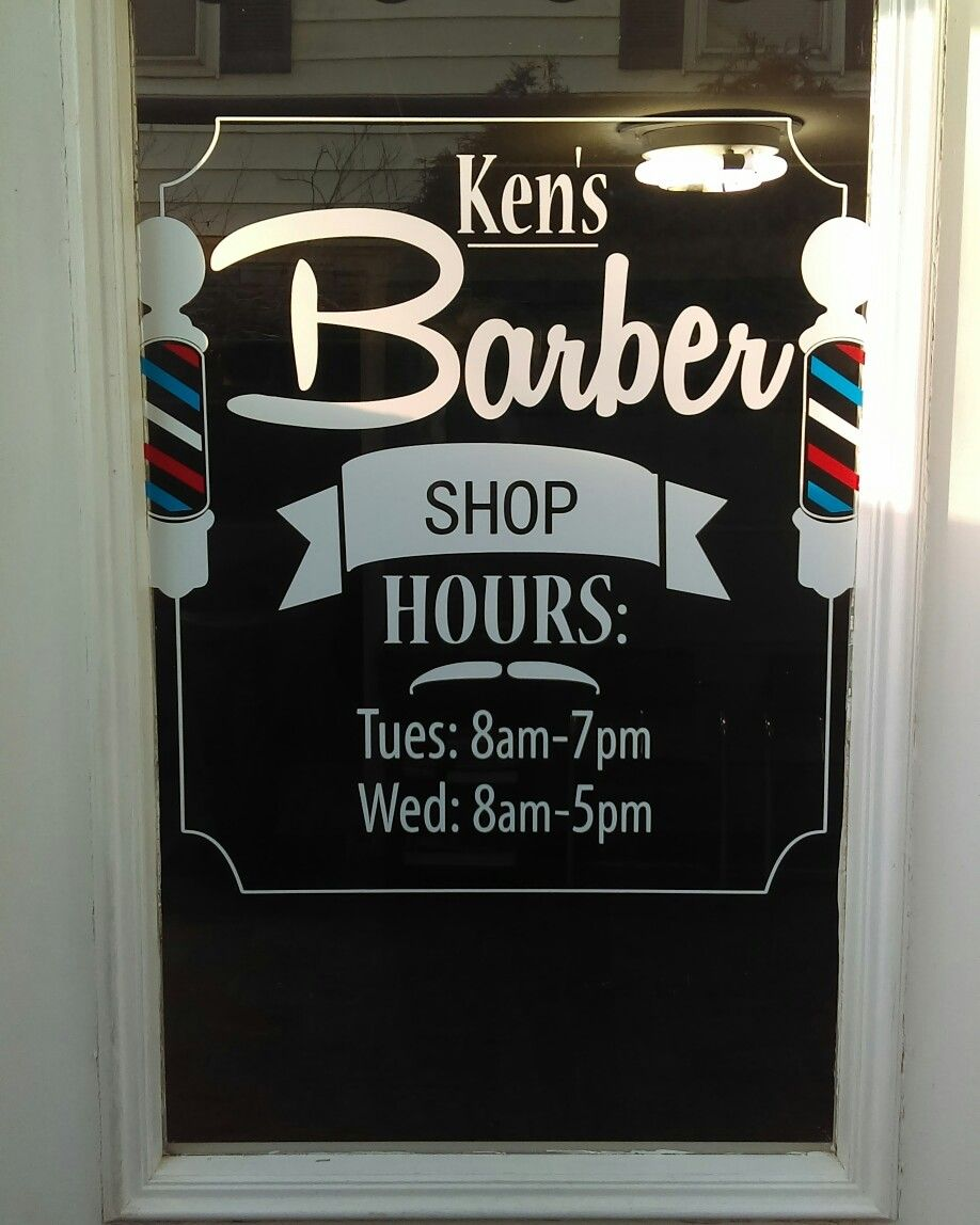 Barber Shop Vinyl Decal I Designed And Applied To His Business Window Barber Barbershop Decal Smallbusiness Barber Shop Barber Shop Window Design