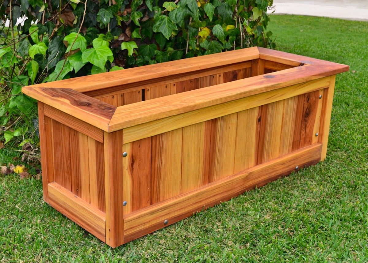 Wonderful Build Wooden Redwood Planter Plans Download Pvc Playhouse Plan