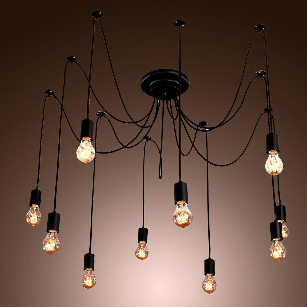 Fuloon Industrial Vintage Chandelier Light 14 Head Ceiling Pendant ...