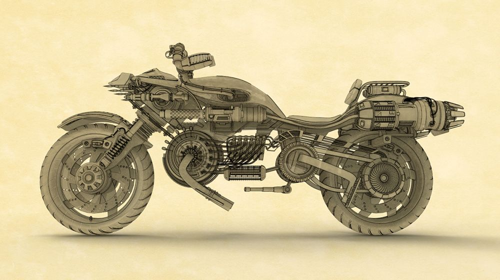 Motorbike rendered in KeyShot using Toon shading by John Seymour.