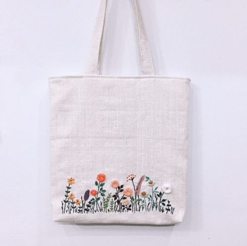 Hand embroidered tote bag, Flower field tote bag, Linen tote bag – DIY Gruppe