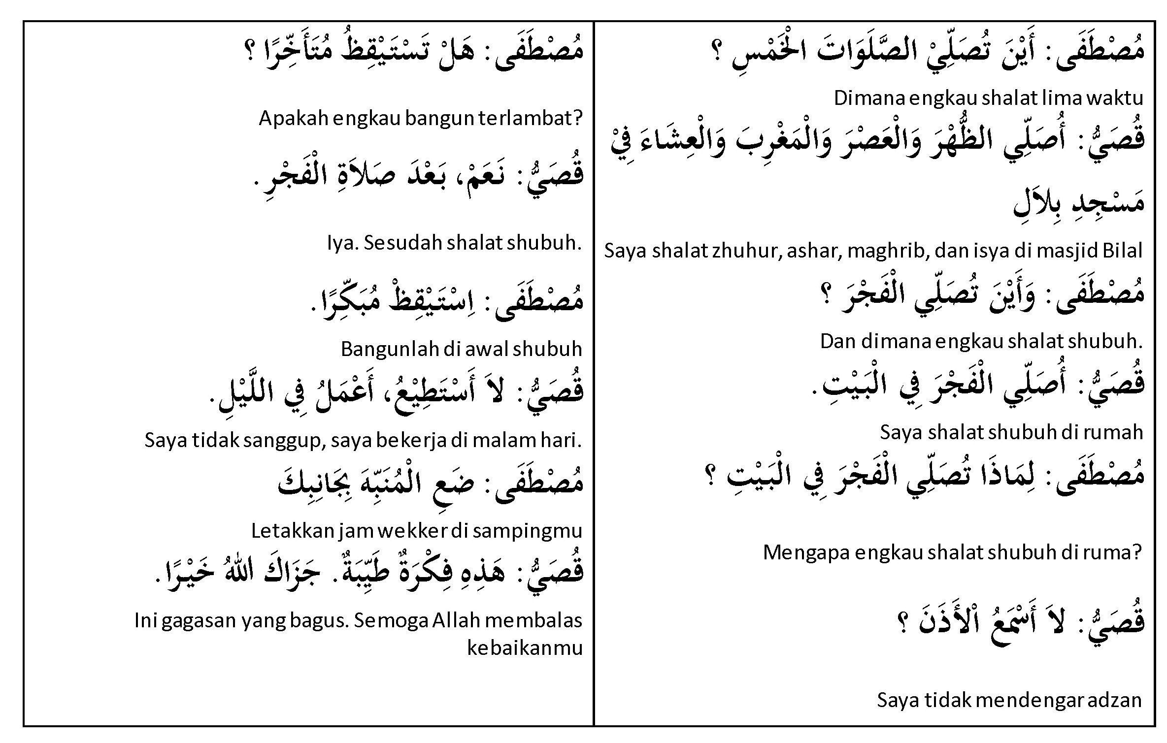 Pelajaran Bahasa Arab Percakapan Sholat Lima Waktu Learning