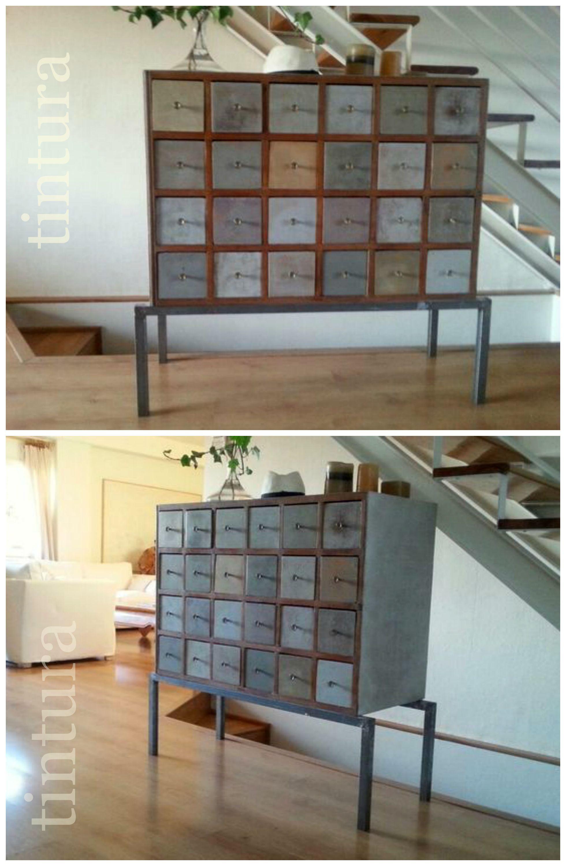 Mueble De Taller Mec Nico Reconvertido Tallertintura Upcycling  # Muebles Reciclados Originales
