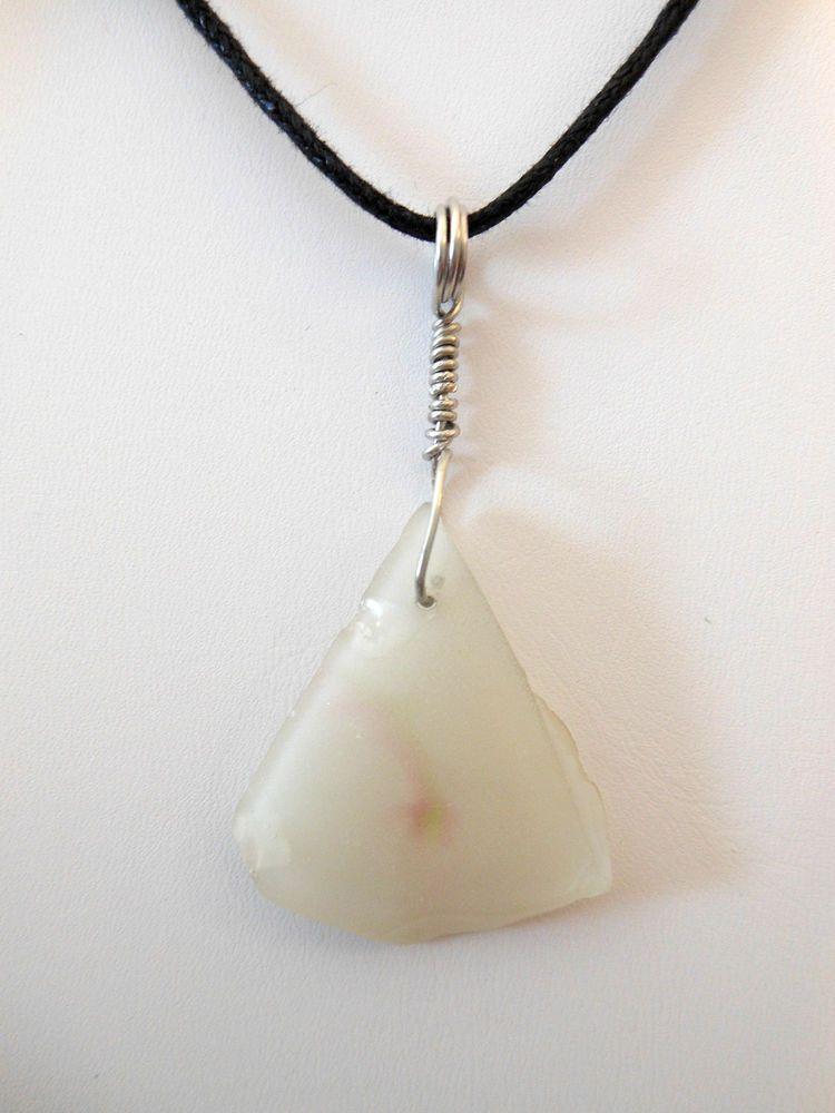 Wire Wrap Rare Milky White Sea Glass Pendant, Silver Wire Loop ...