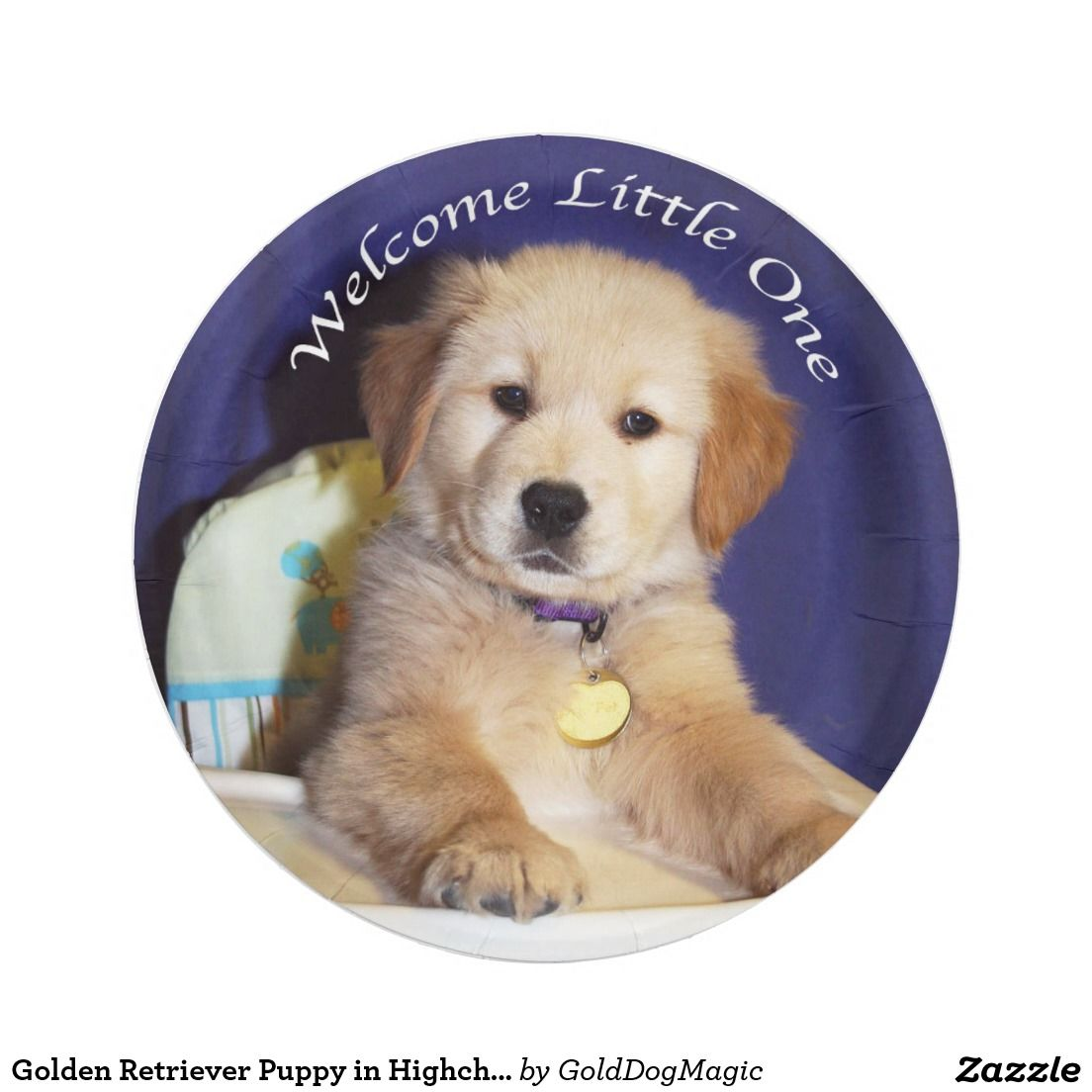 Golden Retriever Puppy in Highchair Baby Welcome 7 Inch Paper Plate