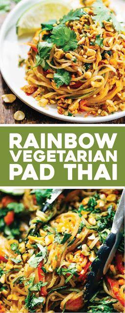 rainbow vegetarian pad thai with peanuts and basil #thaifoodrecipes