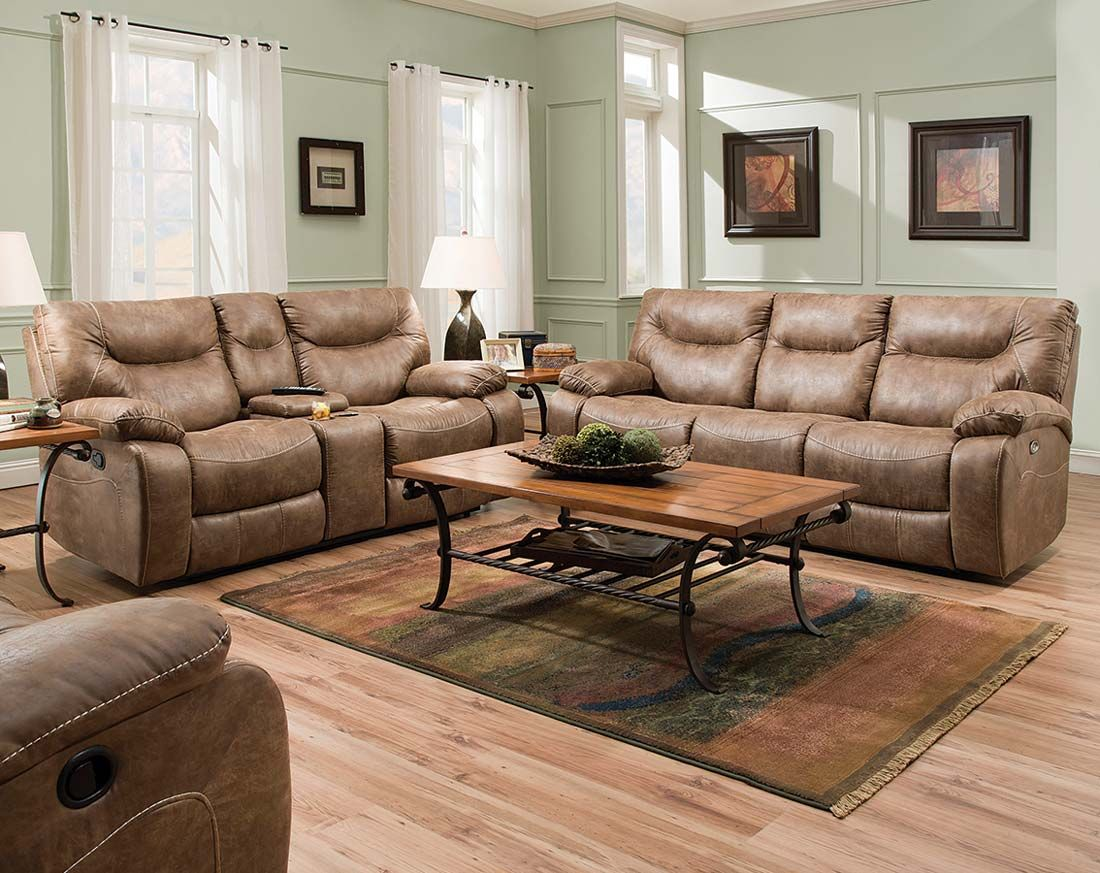Tan Recliner Couch Set | Topgun Saddle Reclining Sofa and ...