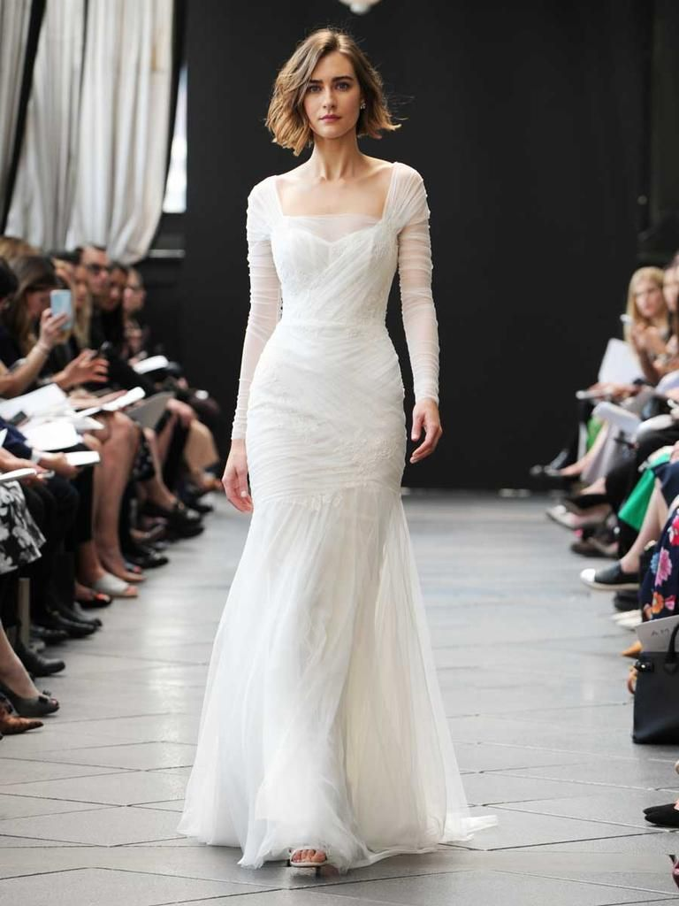 See Amsale Wedding Dresses From Bridal Fashion Week Ruched