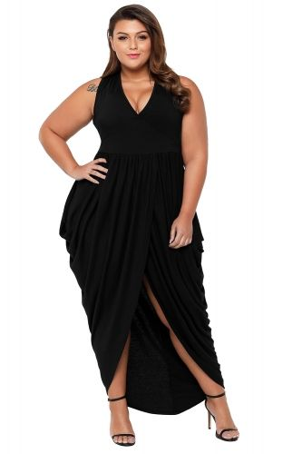 Black Partying Draping Maxi Length Plus Size Dress is part of Party Clothes Plus Size - A plus size maxi dress with a plunging v neckline and tank sleeves Wholesale Partying Draping Maxi Length Plus Size Dress features draping and slit front