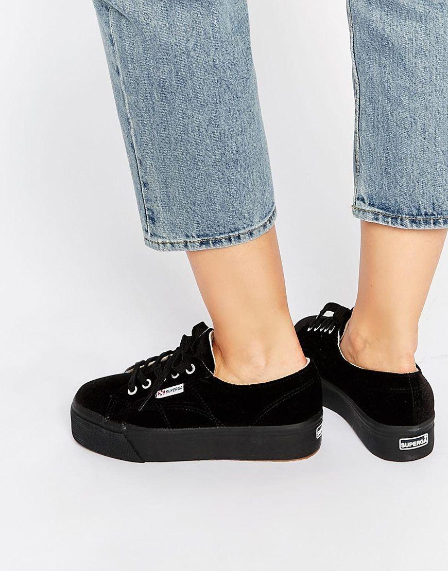Buy Women Shoes / Superga 2790 Black Velvet Flatform Trainers