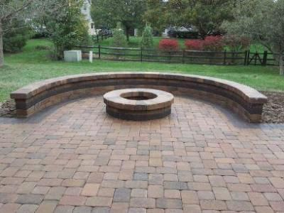 patio designs with fire pit sitting walls columbus decks porches and patios by archadeck - Brick Patio Wall Designs
