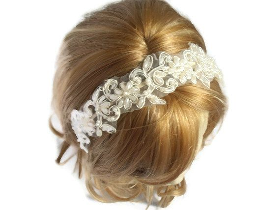 Lace Wedding Headband for the Bride Lace Bridal by SULTANHAIR, $26.00