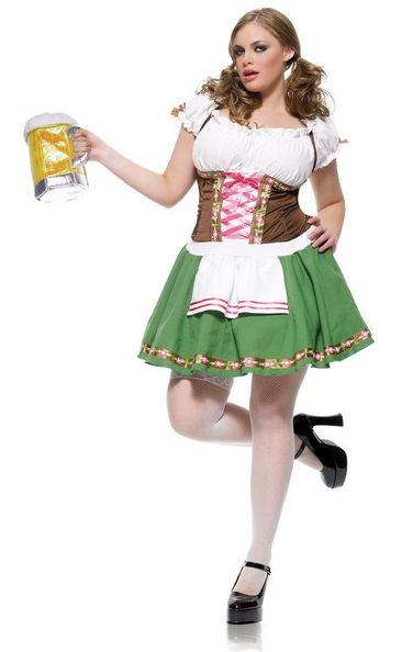Gretchen German Bar Wench Plus Size - Calgary, Alberta. You can use it for Oktoberfest, St. Patties, Halloween or as a VERY special Valentines present. Add a pink Petticoat for extra length, colour and poof for the skirt. This is the Sexy Gretchen Barmaid Costume. Gretchen features a very sexy and cute dress that has a peasant blouse top with ultra cute waist cinching middle complete with pink ribbon. The skirt portion of the dress is a light green with attached white apron.