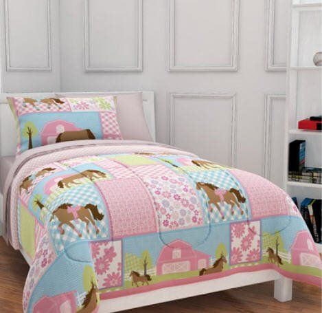 Girls, Pony, Country Horse Twin Comforter, Sheets and Sham Set (5 Piece Bed In A Bag) * You can find more details by visiting the image link.