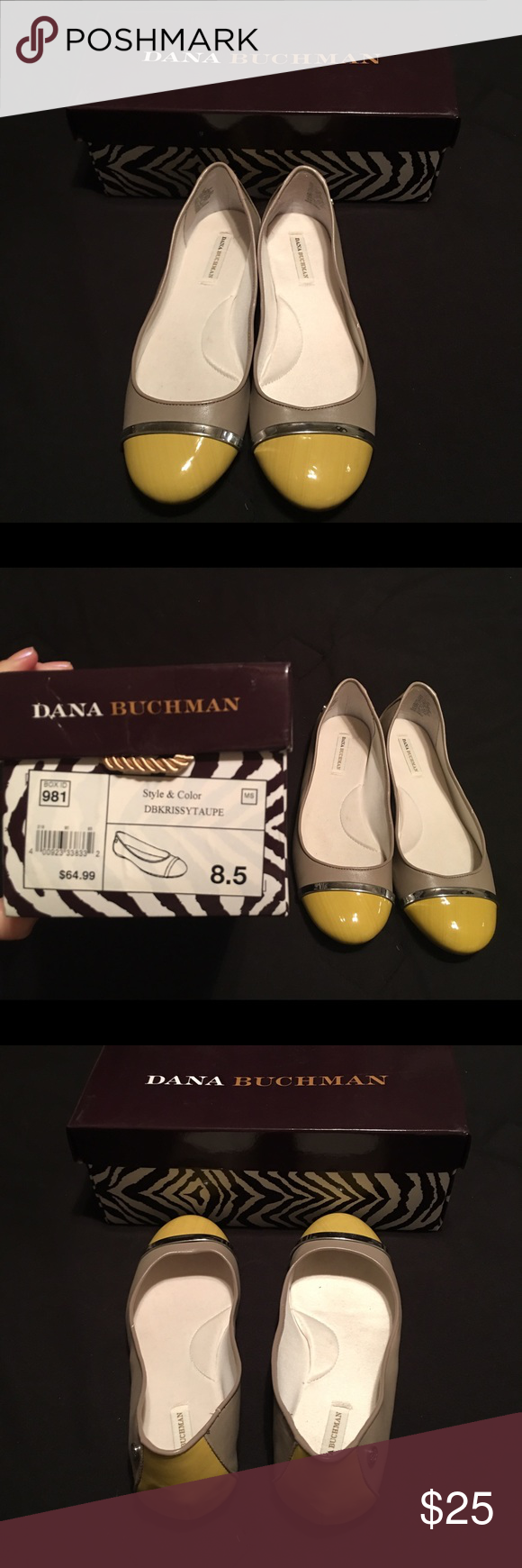 NWOT! Cute Flats! Never worn flats. Grey and Yellow. Size 8.5. Shoes