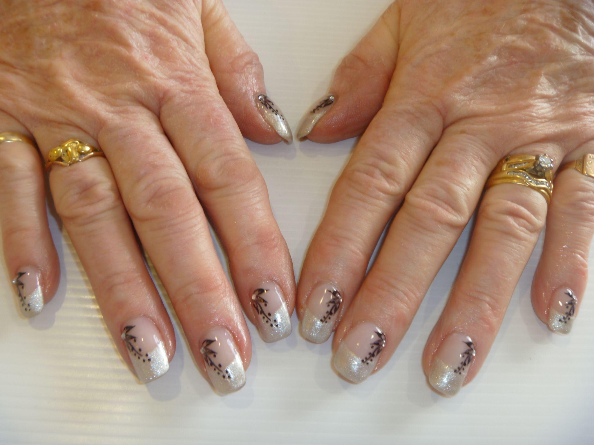 Night Shimmer Gelish gel polish French tips over acrylics