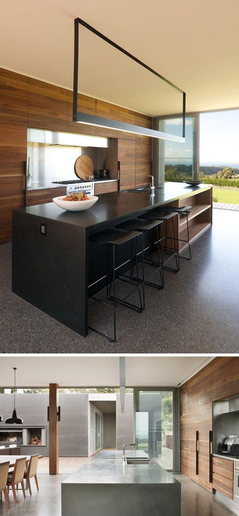 Kitchen island lighting idea use one long light instead of