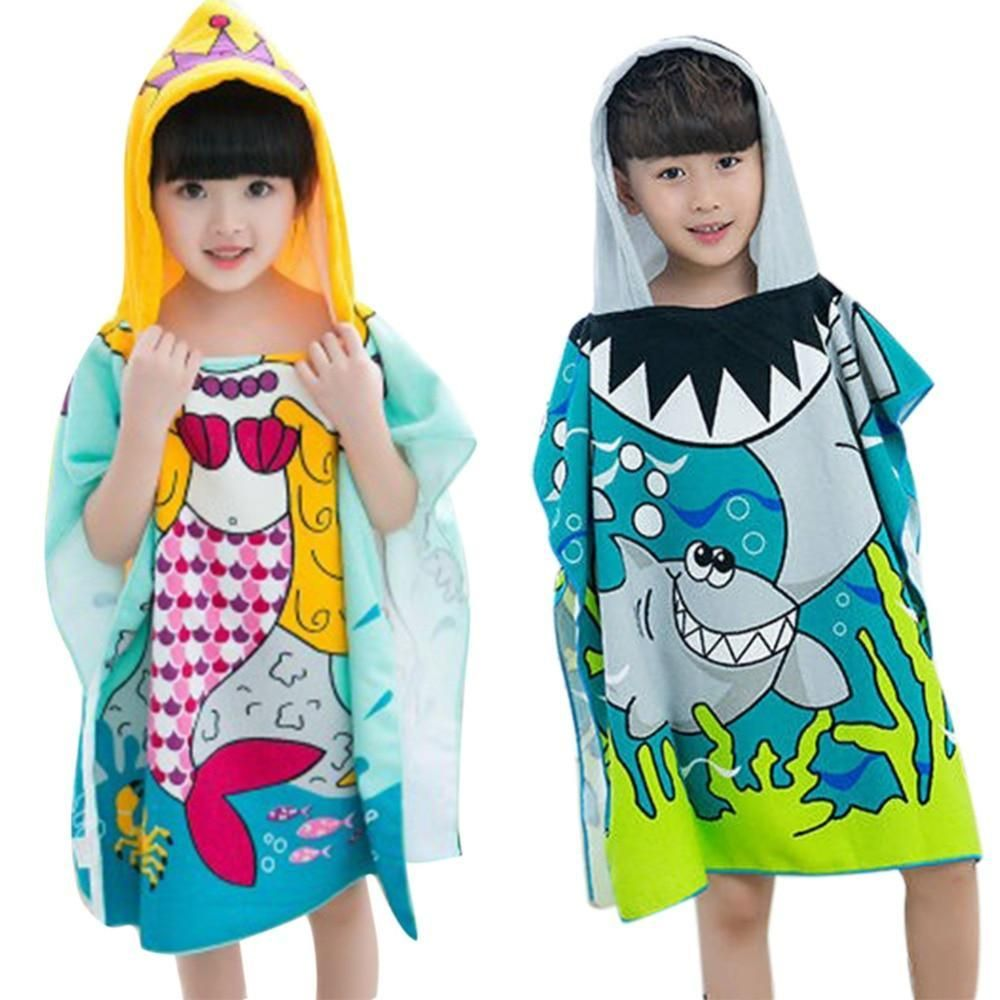 Polyester Mermaid Shark Pattern Beach Towel Baby Children Hooded