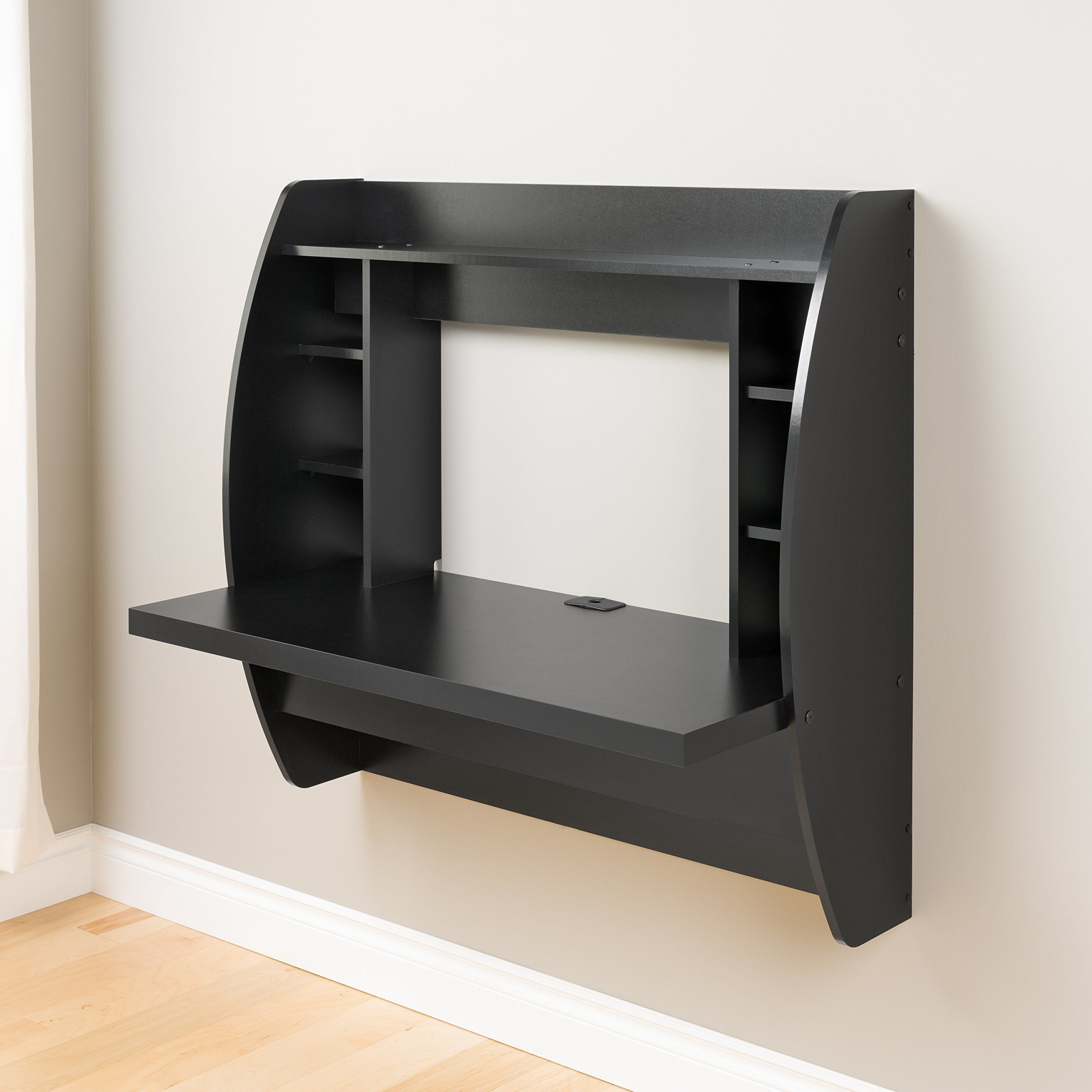 Prepac Wall Mounted Floating Desk With Storage In Black Floating Desk Black Floating Desk Floating Wall Desk