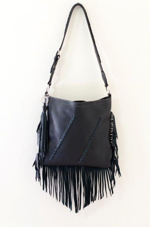 Black Leather Fringe Purse Shoulder Bag Cross Body by MargaretVera ... 0ee0ccb6d631c