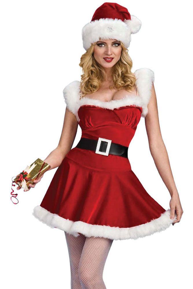 Sexy! 3pc Mrs Claus CHRISTMAS Outfit Dress b76e4e271661