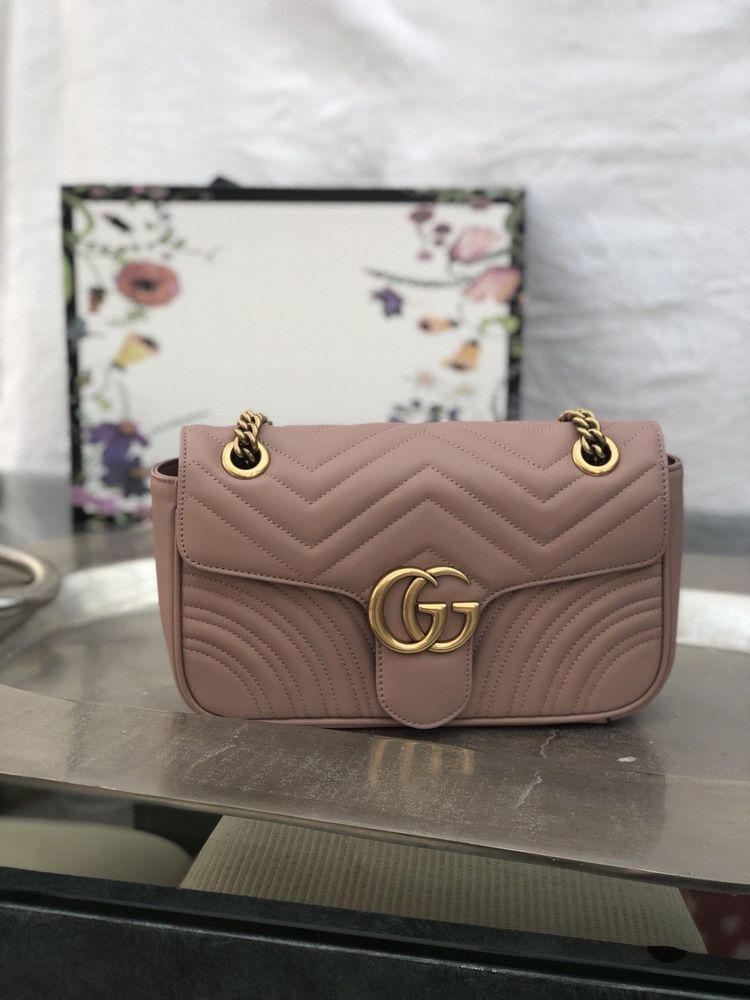 c1c3b9d9496831 GG Gucci Marmont Matelassé Small Shoulder Bag Dusty Pink Handbag ...
