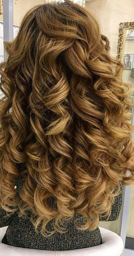 Hochzeit updo Prom lange locken Braut   Big curls for long ...