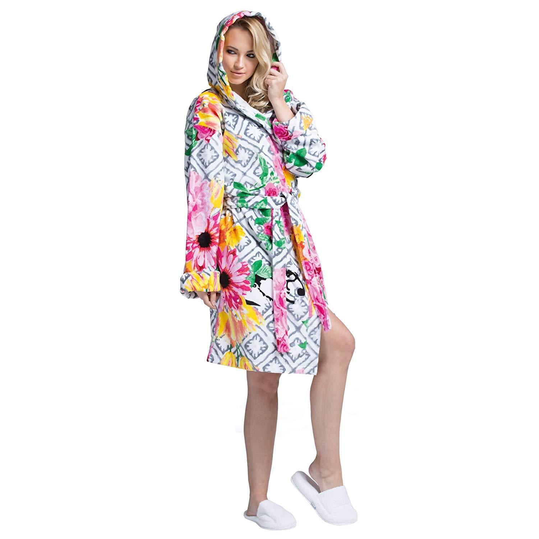 049bb176e7 Minteks Luxury Bath Robe Women s Hooded Lightweight