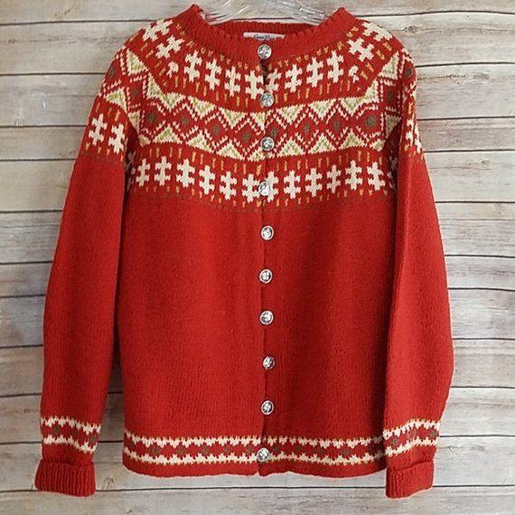 344cbde668d7f6 Vintage Gunn Reiss Women s Orange Cardigan Sweater Handmade in Norway  Nordic Design Size XL