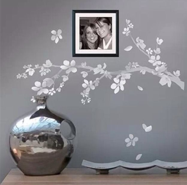 New Main Street Wall Creations Silver Flowers Tree Branch Leaves Decals Stickers Mainstreetwallcreations Conte Wall Creations Wall Stickers Uk Bathroom Mural