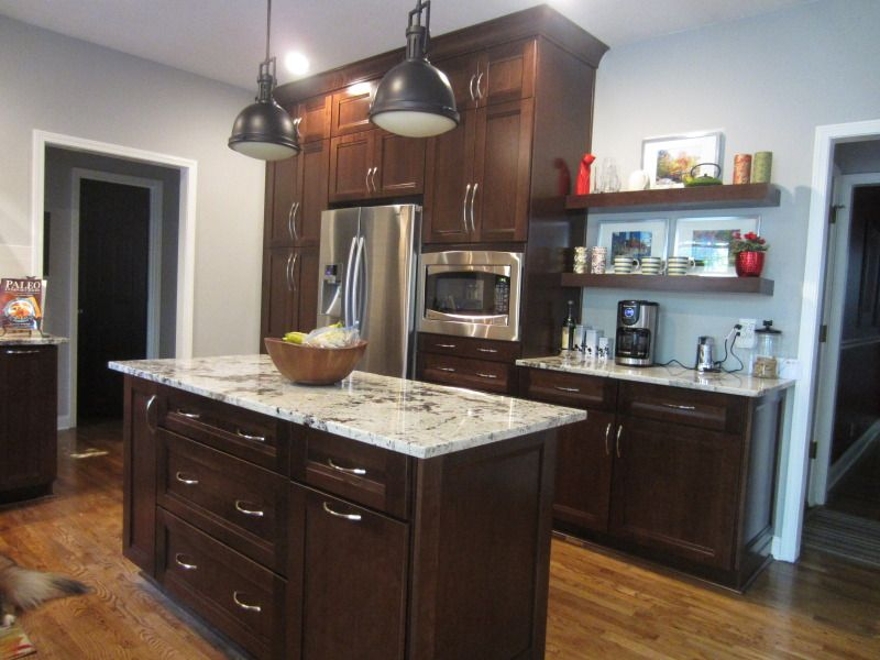 """Grey Kitchen Walls With Cherry Cabinets island is roughly 30"""" x 70"""" and the pendants measure about 10.5"""