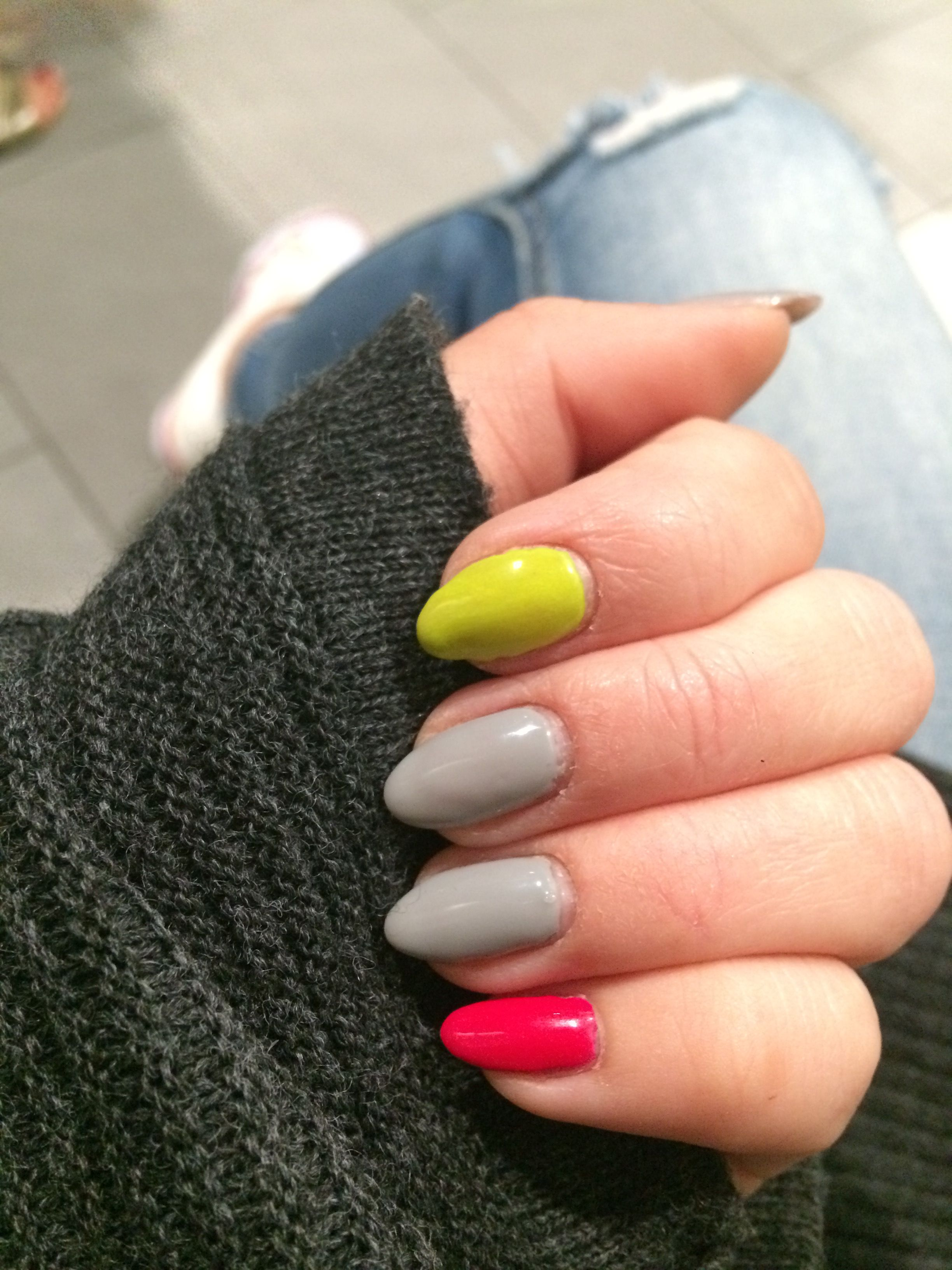 nails #nail #neon #summer #nail #yellow #pink #grey #perfectnails ...