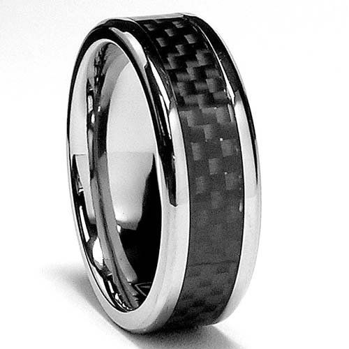 7 MM Titanium Ring Wedding Band with Carbon Fiber inlay sizes 8 to