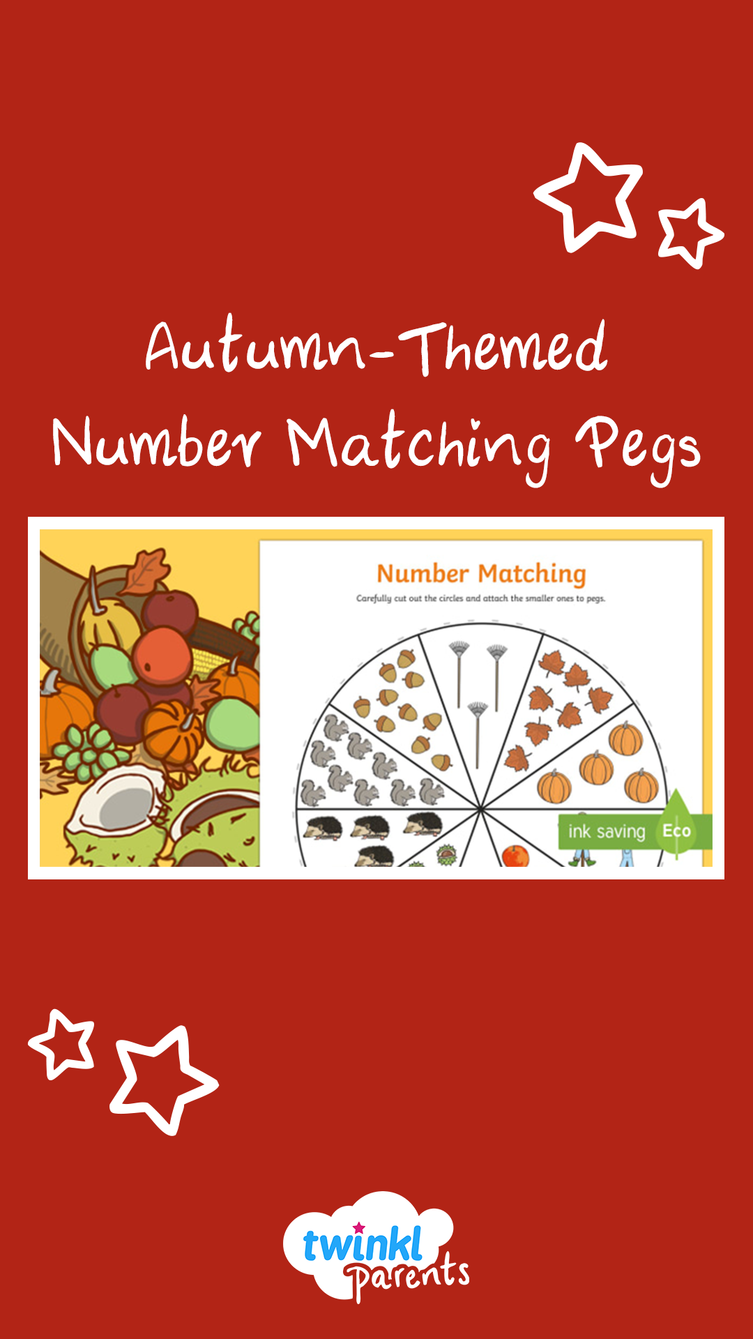 Autumn Themed Number Matching Pegs
