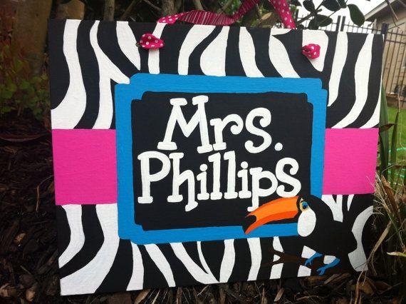 Rainforest / Jungle Teacher Name Sign / by SwirlsCurlsandDots, $30.00