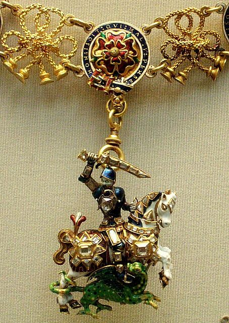 Enamelled gold St. George and the dragon with diamond 17th c England. British Museum